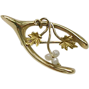 Art Nouveau Wishbone Brooch/Pin Seed Pearl Accent