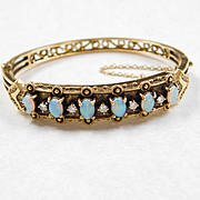 Vintage Opal & Diamond Bangle Bracelet 14k Gold