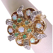 Impressive Retro Opal, Emerald & Diamond Ring 14k Gold