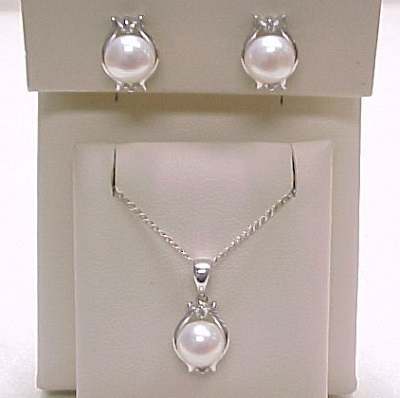 Cultured Pearl Diamond Earrings Necklace Set 14k White Gold Sold Ruby Lane