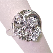Retro DIAMOND Ring 1.18 Carats Total 14k White Gold