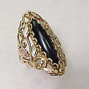 BIG Tricolor 14k Gold ONYX Ring Leaf & Vine Motif