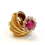 RETRO 1.75 Carat Star RUBY with Diamond Halo Ring 14k Gold