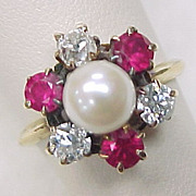 Victorian Pearl Ruby & Diamond Ring 14k Yellow Gold