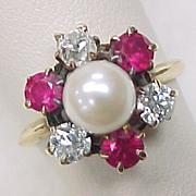 Victorian Pearl Ruby & Diamond Ring 14k Yellow Gold