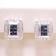 Sapphire & Diamond Earrings 14k White Gold Circa 1980s