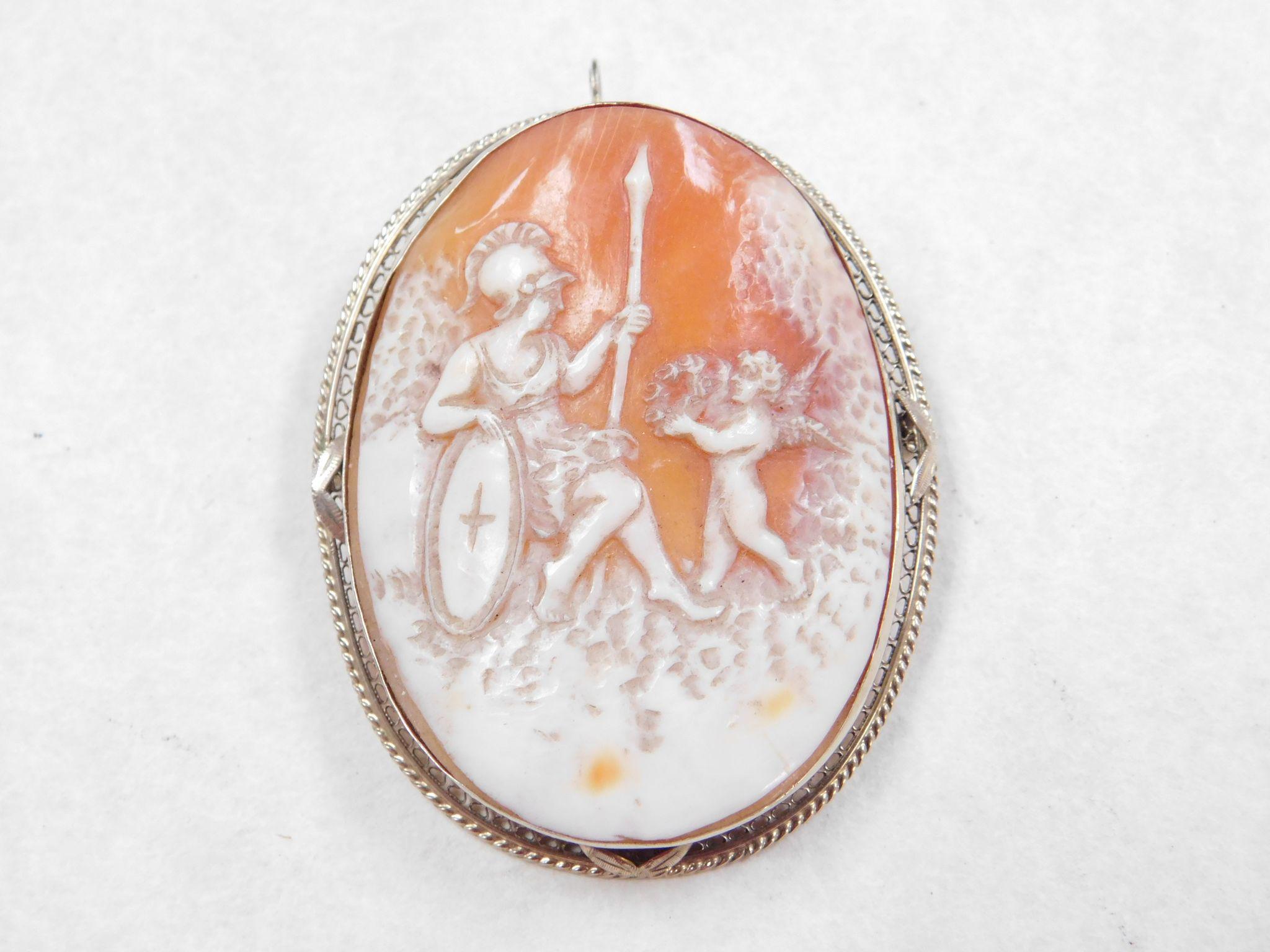 Cameo Greek Mythology Athena Amp Eros 14k White Gold Pendant