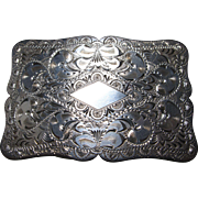 Vintage Sterling Silver Hand Engraved Belt Buckle circa 1930's
