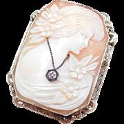 Carved Shell Cameo En Habille White Gold Filigree Frame 1920's
