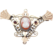Victorian Carved Cameo & Garnet Brooch 9k yellow Gold