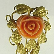 Vintage Carved Coral ROSE Brooch 10k Yellow Gold