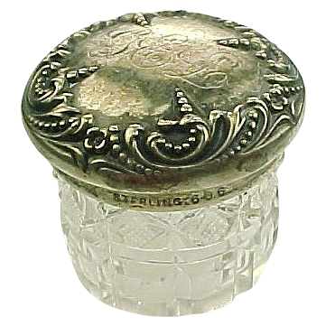 Item ID: Cut Glass Sterling Dresser Jar In Shop Backroom