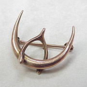 Edwardian Brooch Crescent Moon & Wishbone 10k Gold