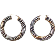 Vintage Sterling Silver and 14k Gold Twist Hoop Earrings