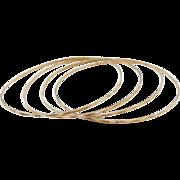 """Vintage 10k Gold Set of 4 Bangle Bracelets Diamond Cut 8 5/8"""""""