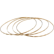 Vintage 10k Gold Set of 4 Bangle Bracelets Diamond Cut 8 5/8""
