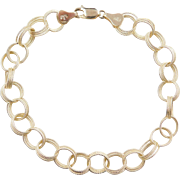 """Vintage 14k Gold Textured Triple Link Charm Bracelet ~ 8 1/2"""" ~ 8.5 Grams"""
