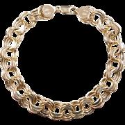 """Vintage 14k Gold Triple Link Charm Bracelet ~ 8"""""""