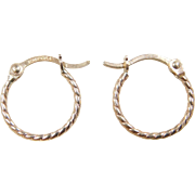 Vintage 10k Gold Small Twisted Hoop Earrings