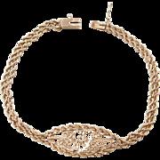 """Vintage 14k Gold Heart Bracelet ~ 7"""""""