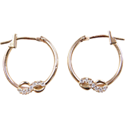 Vintage 10k Gold Faux Diamond Infinity Hoop Earrings