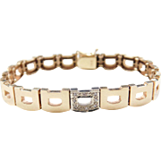 Vintage 14k Gold Two-Tone Diamond Bracelet ~ 7""