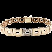 "Vintage 14k Gold Two-Tone Diamond Bracelet ~ 7"""