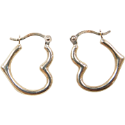 Vintage 10k Gold Heart Hoop Earrings