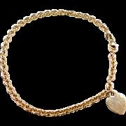 """Vintage 14k Gold Heart Anklet ~ 10 3/8"""""""