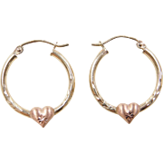 Vintage 10k Gold Two-Tone Heart Hoop Earrings
