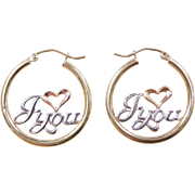 Vintage 10k Gold Tri-Color I Love You Hoop Earrings