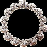 "Vintage 18k White Gold Elephant Bracelet ~ 6 7/8"""