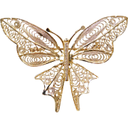 Vintage 14k Gold BIG Filigree Butterfly Pin / Brooch