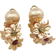 Vintage 14k Gold Flower Cluster Dangle Earrings with Colorful Tourmaline Beads