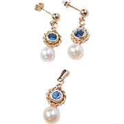 Vintage 14k Gold Blue Spinel and Cultured Pearl Set ~ Earrings and Pendant