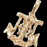 Vintage 14k Gold Mariners Cross Pendant ~ Anchor, Crucifix, Ships Wheel