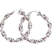 Vintage 14k White Gold Twisted Hoop Earrings