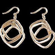 Vintage 14k Gold Geometric Dangle Earrings