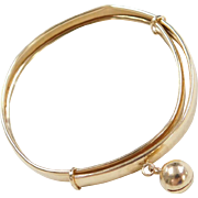 Vintage 18k Gold Baby Bangle Bracelet with Jingle Ball