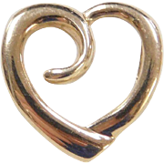 Vintage 10k Gold Heart Pendant / Slide