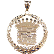 Vintage 10k Gold Big Cadillac Crown Emblem Pendant