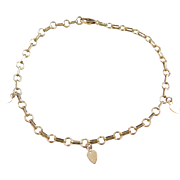 """Vintage 12k Gold Heart Charm Anklet ~ 10 1/2"""""""
