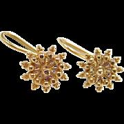 Vintage 12k Gold Starburst / Flower Earrings