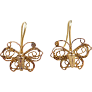 Vintage 12k Gold Filigree Butterfly Earrings