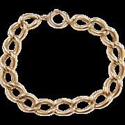 """Vintage 18k Gold Chunky Curb Link Bracelet ~ 9 1/2"""""""