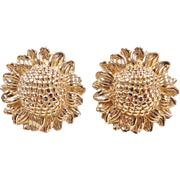 Vintage 14k Gold Big Sunflower Stud Earrings
