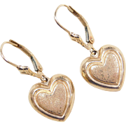 Vintage 14k Gold Heart Dangle Earrings ~ Lever Backs