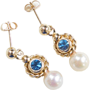 Vintage 14k Gold Blue Spinel and Cultured Pearl Earrings