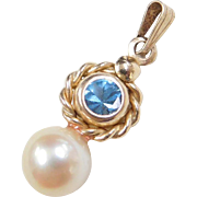 Vintage 14k Gold Blue Spinel and Cultured Pearl Pendant