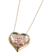 Vintage 14k Gold Two-Tone Angel Heart Necklace ~ Yellow and Rose Gold ~ 18""